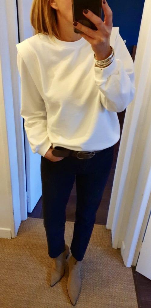 Sweat blanc épaulettes