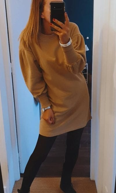 Robe sweat manche ballon camel