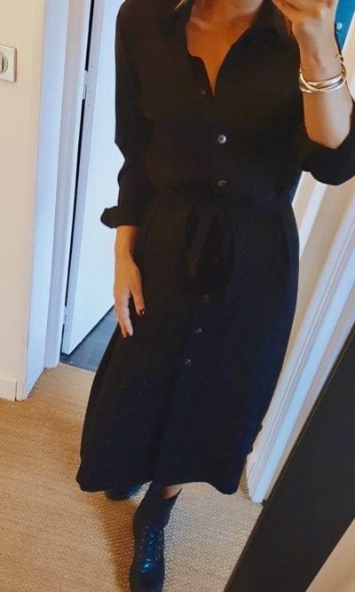 Robe chemise noire Grace&Mila