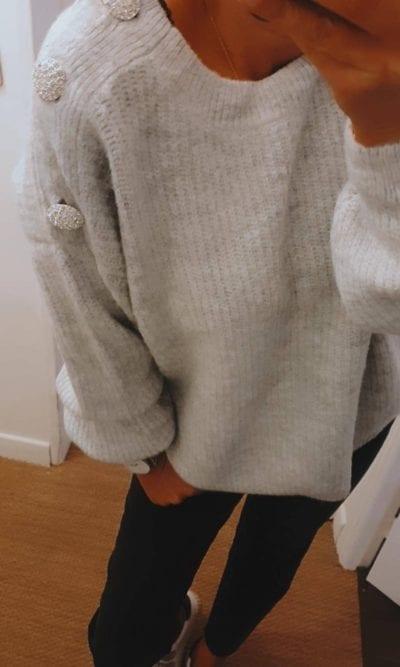 Pull uni Bouton gris clair