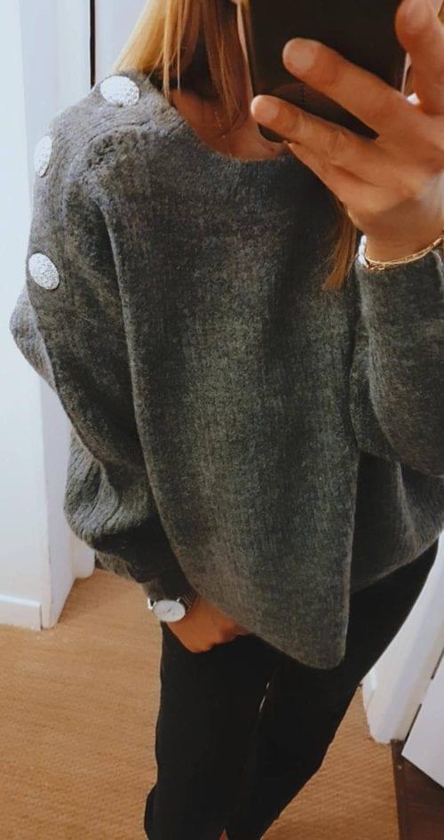 Pull uni Bouton gris foncé