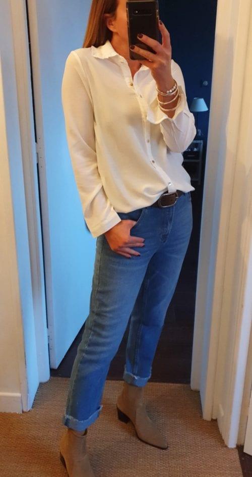 Chemise blanche boutons dorés