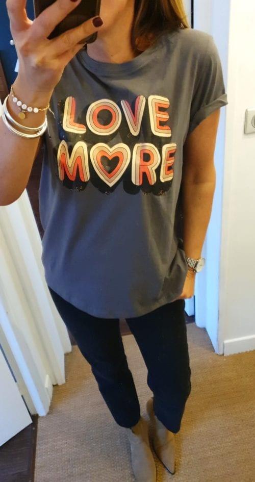 Tee shirt message dark grey