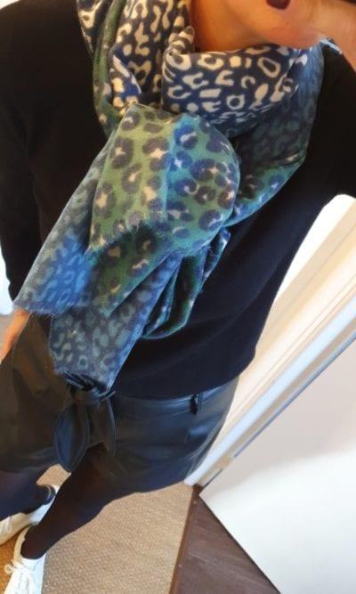 Echarpe imprimé léopard bleu/vert