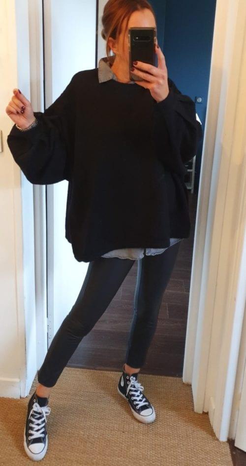 Pull noir oversize