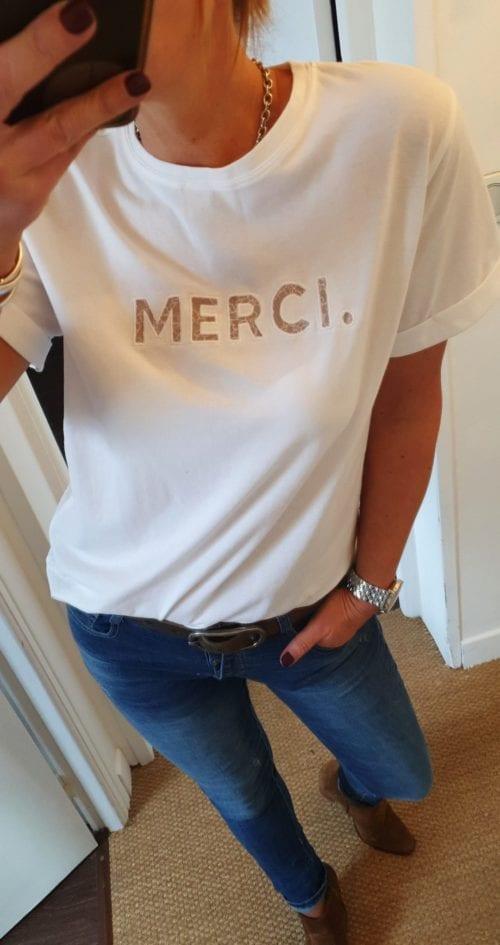 Teeshirt blanc Merci Grace&Mila